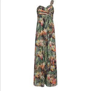 Print One Shoulder Maxi Dress - Olive Ted Baker